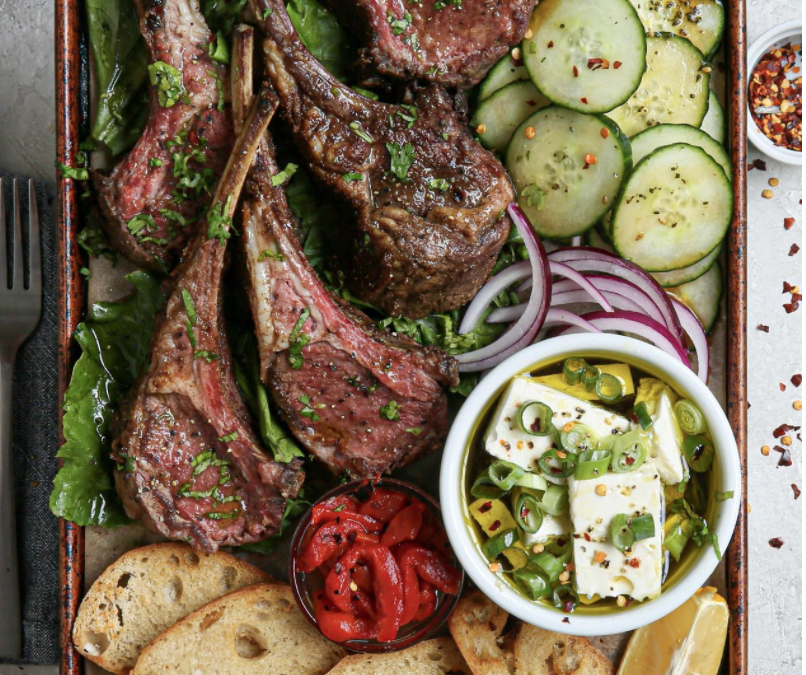 Easy Roasted Moroccan Rack of Lamb with Honey-Olive Oil Feta