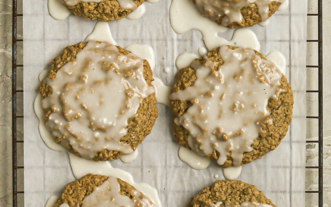 Vegan Iced Oatmeal Cookies (gluten-free)