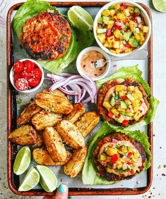 Mexican Salmon Burgers, Chili Lime Fries, and Pineapple Jalapeno Cucumber Salsa