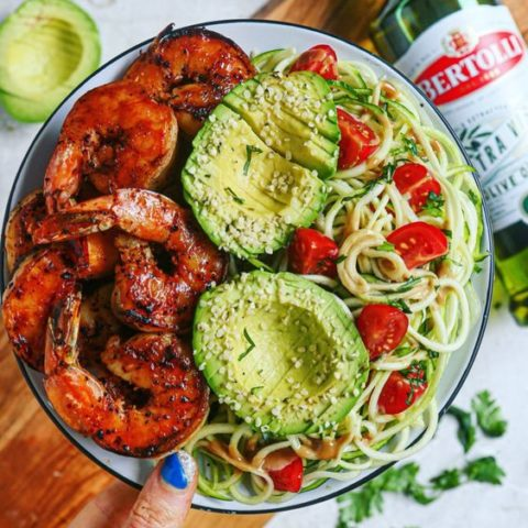 BBQ Shrimp and Creamy Balsamic Mustard Zoodle Salad