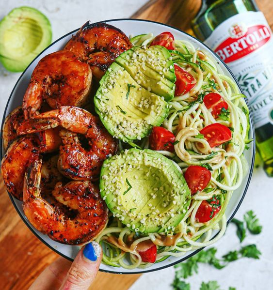 Grilled Chipotle Coconut Lime Shrimp Skewers with Mango and Tomato Stuffed Avocado Boats
