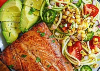 Southwestern Zoodle Salad with Chipotle Yogurt Dressing and Chili Lime Salmon