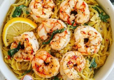 Creamy Honey Mustard Balsamic Garlic Spaghetti Squash and Shrimp