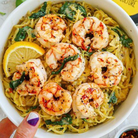 Creamy Honey Mustard Balsamic Garlic Spaghetti Squash and Shrimp