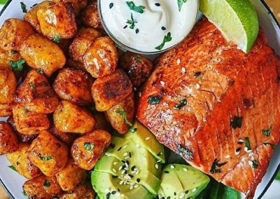 5-Spiced Salmon with a Cilantro Tamari Yogurt Aioli