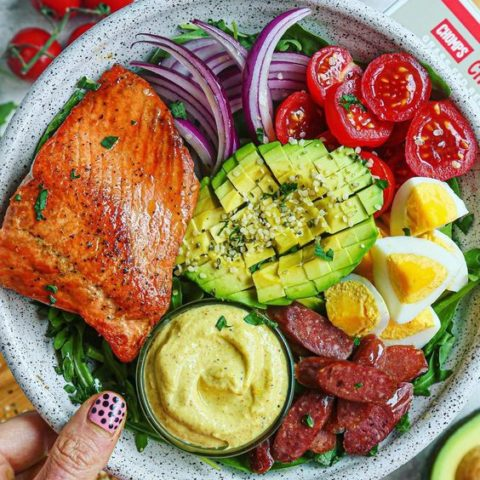 Quick Salmon Cobb Salad with a Sweet and Tangy Mustard Yogurt Dressing