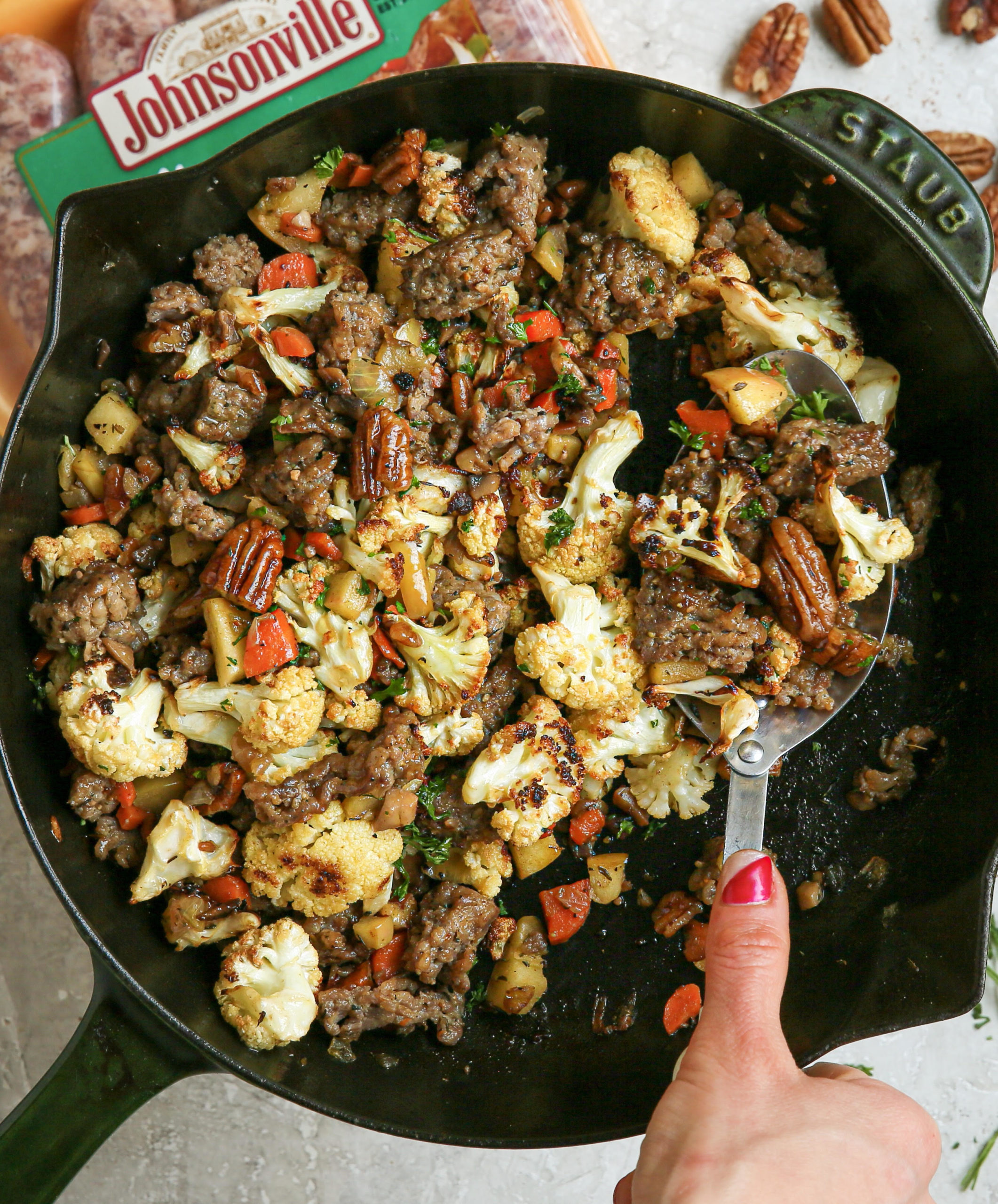 Grain-Free Cauliflower Stuffing with Apples and Sausage