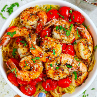 ITALIAN SEASONED SHRIMP and SPAGHETTI SQUASH WITH BALSAMIC AND GARLIC ROASTED TOMATOES