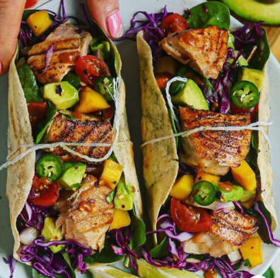 Honey Chipotle Salmon Tacos with Mango Avocado Jalapeño Salsa