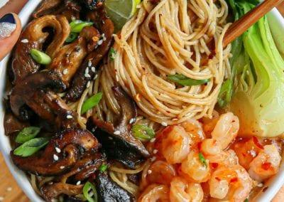Creamy Cashew Ramen Noodles, Sesame-Maple Garlic Mushrooms with Sweet Chili Shrimp & Kimchi