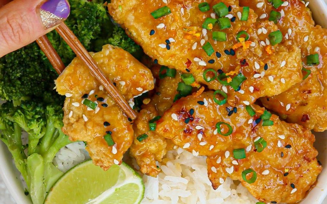 Crispy Paleo Chinese Orange Chicken Tenders