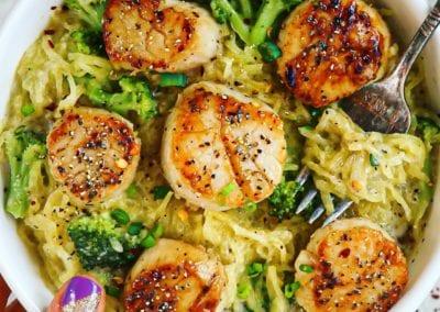 Dairy-Free Spaghetti Squash Garlic Broccoli Alfredo & Seared Scallops