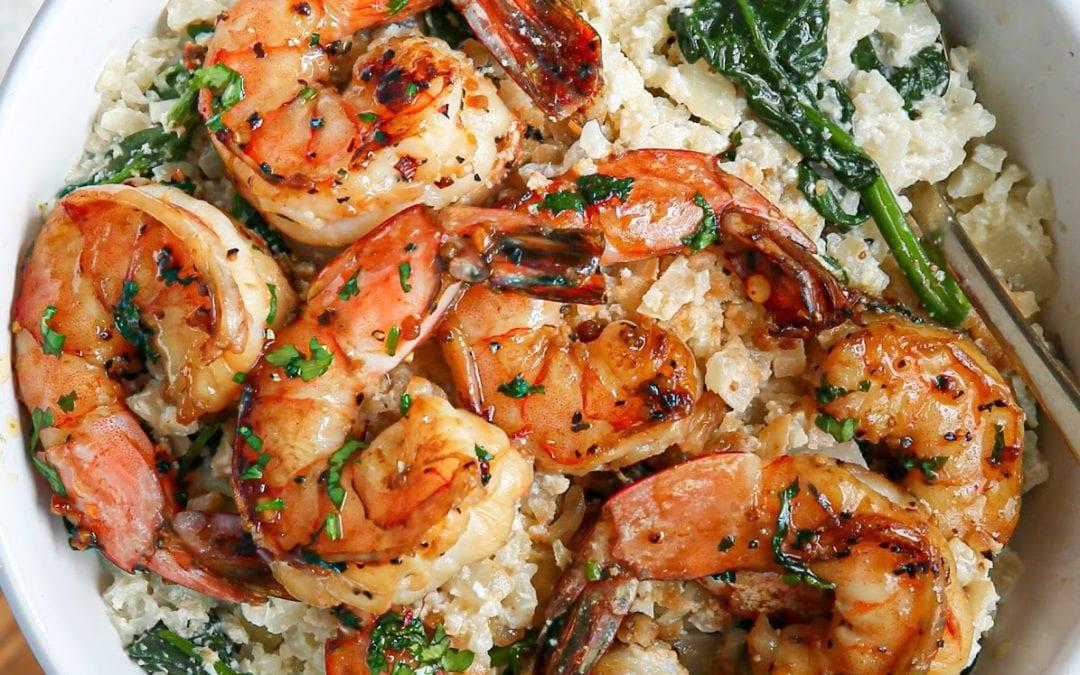 Garlic Shrimp & Creamy Ricotta Cauliflower-Spinach Grits