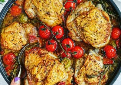 Sicilian Chicken, Rosemary & Smashed Olive Skillet