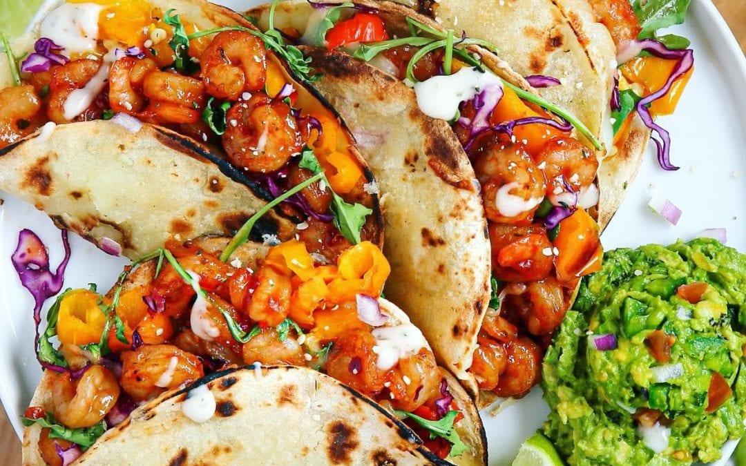 Buffalo-Sweet Chili Shrimp & Roasted Pepper Baked Crispy Street Tacos