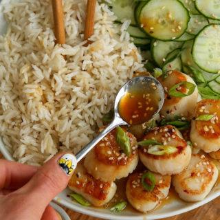 Sticky Sesame, Honey and Miso Sea Scallops